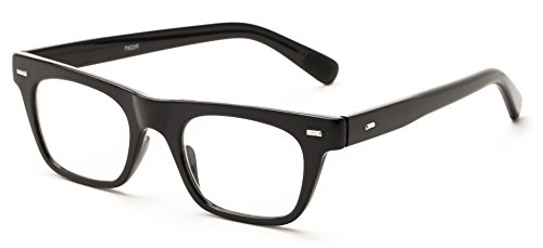608db7f555be Amazon.com: Readers.com | The Madden +1.00 Black Retro Square Stylish Men's  & Women's Full Frame: Health & Personal Care