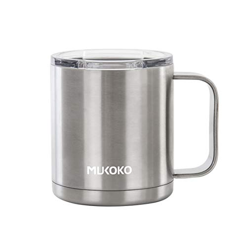 12oz Stainless Steel Vacuum Insulated Travel Mug with Lid and Handle Double Wall Vacuum Sealed Camp Cup-For Hot or Cold Sliver by MUKOKO