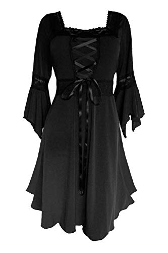 Dare to Wear Renaissance Corset Dress: Victorian Gothic Boho Witchy Women's Gown for Everyday Halloween Cosplay Festivals, Black M