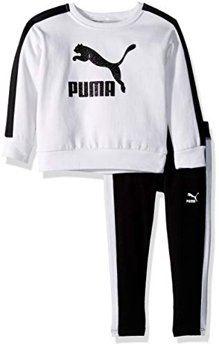 PUMA Toddler Girls' Fleece and Legging Set, White, 4T