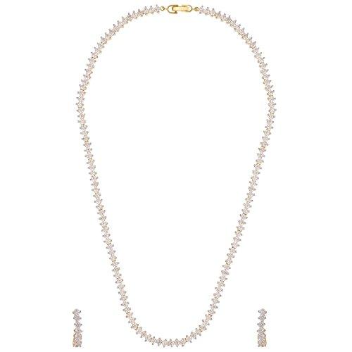 Swasti Jewels American Diamond Austria CZ Single Line Fashion Jewelry Set Necklace Earrings (Full Chain) for Women
