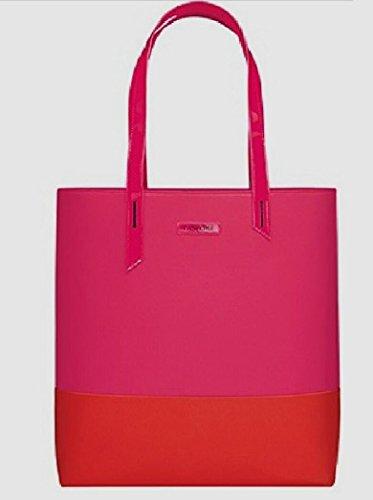 New Beautiful ! Lan-come Hot Pink & Orange Large Tote Bag sz 15