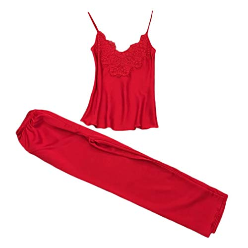 Women 2Pcs Underwear Sleepwear Sets,Connia Lace Strap &Trousers Babydoll Lingerie Nightwear Homewear Pyjamas Suit (XL, Red)