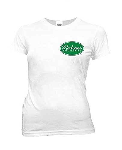 True Blood Merlottes Bar and Grill Juniors White T-shirt Tee (Small)]()