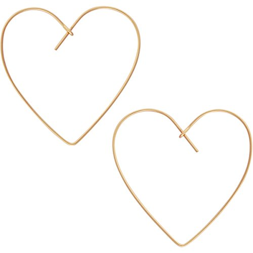 - Heart Hoop Earrings for Women - Hypoallergenic Lightweight Open Wire Threader Drop Dangles, 18K Yellow Heart, Gold-Electroplated, Hypoallergenic, by Humble Chic NY
