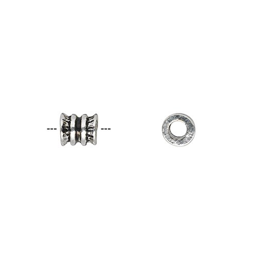 """Bead antique silver-plated """"pewter"""" (zinc-based alloy) 6x5mm ribbed round tube with 3mm hole"""