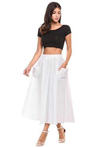 Zeagoo-Womens-Elastic-Waisted-Cotton-Linen-A-Line-Skirt-Pleated-Full-Midi-Skirts-with-Big-Side-Pockets