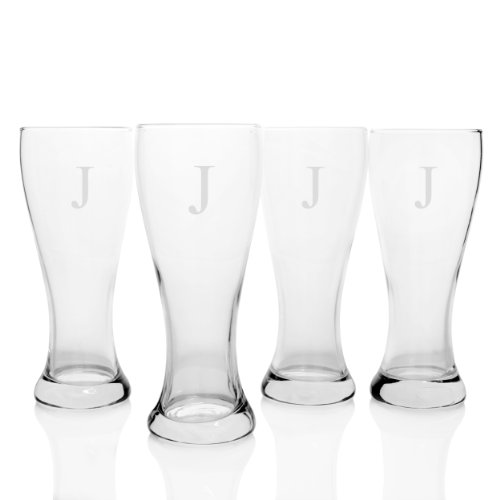 Engraved Classic Pilsner Glass (Cathy's Concepts Personalized Pilsner Glasses, Set of 4, Letter J)