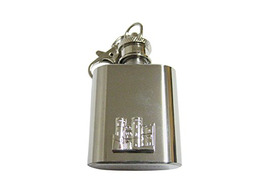 Silver Toned Castle 1 Oz. Stainless Steel Key Chain Flask