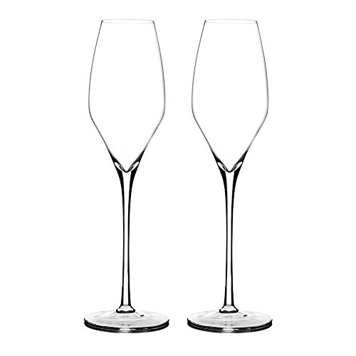 Triangle 10oz Hand-blown Lead-free Crystal Champagne Tulip Flutes, Set of 2, Glass Wedding Champagne Toasting Glasses, Sparkling Wine Glasses Gift Set, Tall Stem and Ultra Clear, Dishwasher Safe