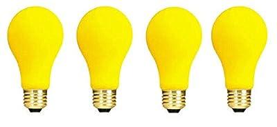 (4 Pack) 60-Watt A19 Yellow Bug Incandescent Medium Base Light Bulb