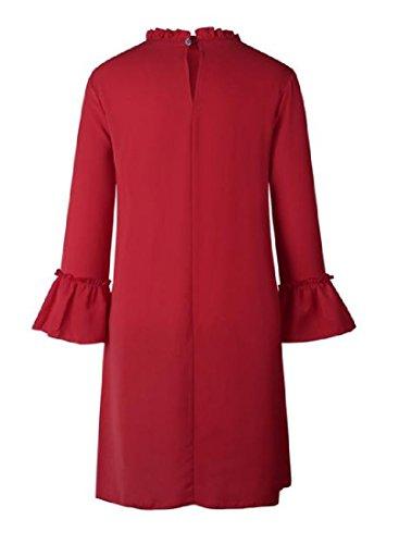 Coolred-femmes En Mousseline De Soie D'épissure Couleur Pure, Plus La Taille Manches Longues Mini-robe Rouge De Vin