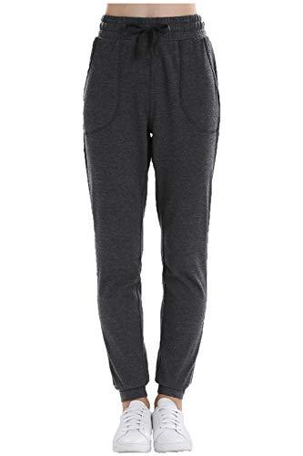 (OCIESS Women's Athletic Joggers Pants Cotton Sweatpants with Pocket (S, Dark Grey))