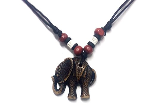 Pharaoh Costume Diy (Elephant Pendant Necklace - Handmade Necklace - Adjustable Black Cord (Brown))