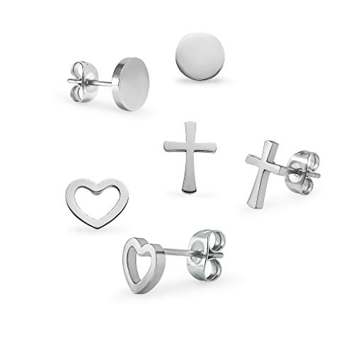 3 Pairs Stainless Steel Heart Round and Cross Stud Earrings Set For Men Women Silver ()