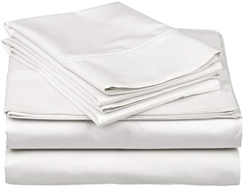True Luxury 1000-Thread-Count 100% Egyptian Cotton Bed Sheets, 4-Pc Queen White Sheet Set, Single Ply Long-Staple Yarns, Sateen Weave, Fits Mattress Upto 18'' Deep - White Thread 1000