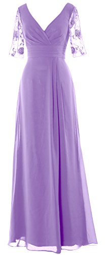 Dress Women Long Half Gown the Mother Lavendel Formal Neck MACloth Sleeves Bride V of 4q8dtw
