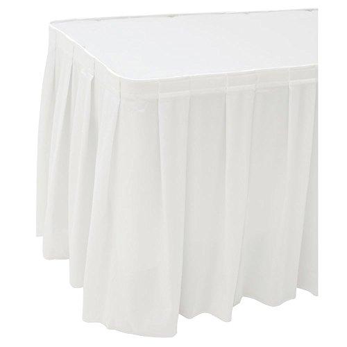 (Snap Drape Flame-Retardant Box Pleat White Polyester Table Skirting - 29