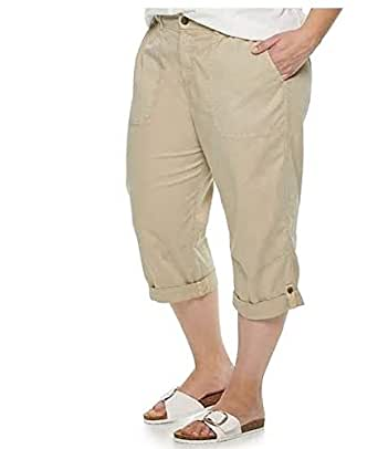 Evri Women's Plus Size All About Comfort Utility Capris (Beige, 18W)