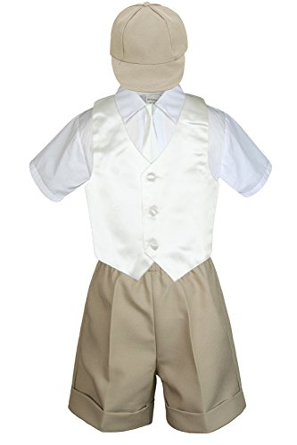6pc Baby Little Boy Khaki Bow Tie Shorts Extra Vest Necktie Set S-4T (2T, Ivory)