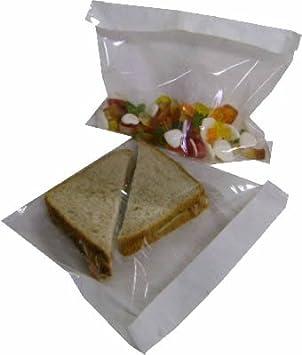 Caramelos 30 x 30 cm bocadillos con Papel Blanco por una Parte y celof/án Transparente por la Otra para Comida Swoosh Supplies 100/Bolsas de Papel y celof/án