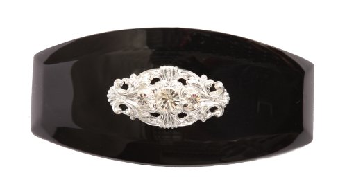 - Caravan Hand Decorated Swarovski Emblem Crystal Stones Ornament on French Auto Bar, Black, Large.65 Ounce