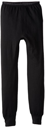 Duofold Boys Light Weight Double Layer Thermal Pant, Black, Medium