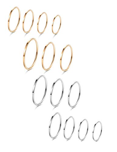 Toe Tone Ring Silver Silver (LOYALLOOK 8-14Pcs 1mm Stainless Steel Women's Plain Band Knuckle Stacking Midi Rings Comfort Fit Silver/Gold/Rose Tone)