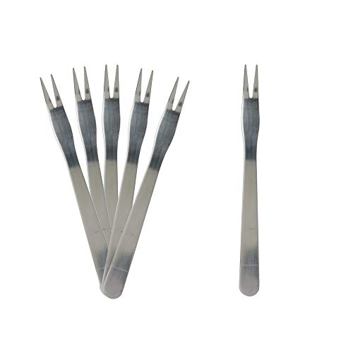 Saveur et Degustation ku6367Set of 6Snail Forks, Stainless Steel and PP, Silver, 13.8x 13x ()