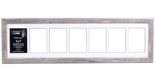 7 Opening Glass Face Driftwood Picture Frame to hold 5 by 7 inch Photographs including 10x40-inch White Mat - Glasses Frames Names