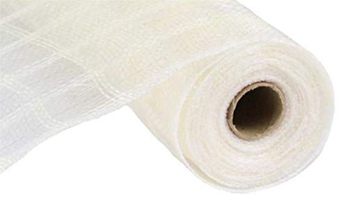 Ivory Jute Ribbon (Craig Bachman Faux Jute Plaid Check Deco Poly Mesh Ribbon- 10.5