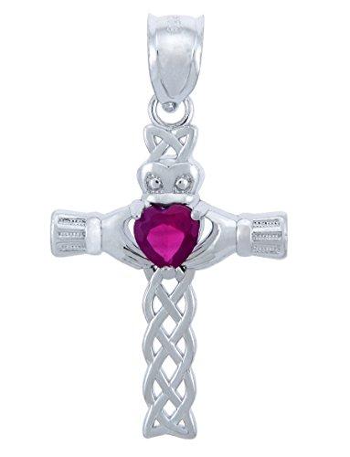 July Birthstone Red Heart CZ Sterling Silver Claddagh Cross Pendant