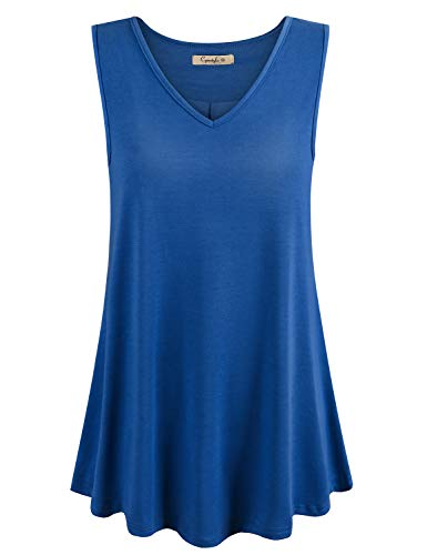 Cyanstyle Womens Sleeveless V Neck Floral Flowy Tank Top Print Flowy Tunic Shirts Royal Blue XXL