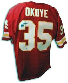 pretty nice 77a54 ec5d3 Christian Okoye Signed Kansas City Chiefs Red Throwback ...