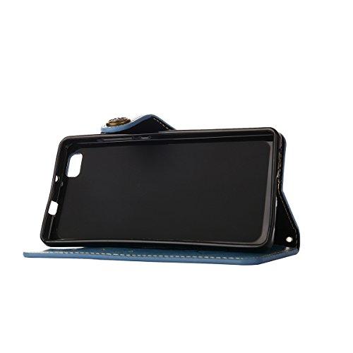 MEIRISHUN Leather Wallet Case Cover Carcasa Funda con Ranura de Tarjeta Cierre Magnético y función de soporte para Huawei P8 Lite - Verde Azul