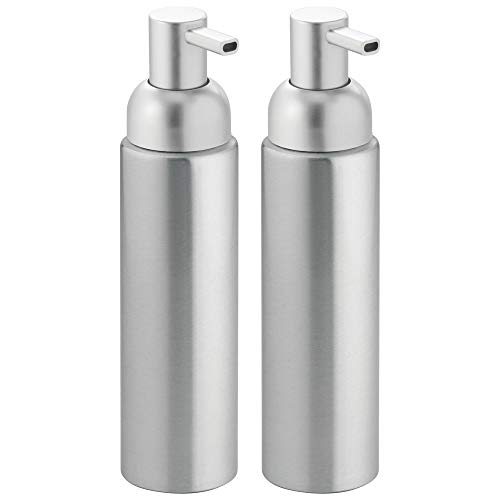 mDesign Modern Aluminum Metal Refillable Soap Dispenser Pump Bottle for Bathroom Vanity Countertop, Kitchen Sink - Holds Dish Soap, Hand Sanitizer, Essential Oils - Rust Free, 2 Pack - Brushed/Silver