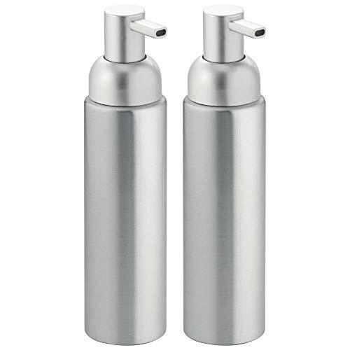mDesign Modern Aluminum Metal Refillable Soap Dispenser Pump Bottle for Bathroom Vanity Countertop, Kitchen Sink - Holds Dish Soap, Hand Sanitizer, Essential Oils - Rust Free, 2 Pack - Brushed/Silver ()