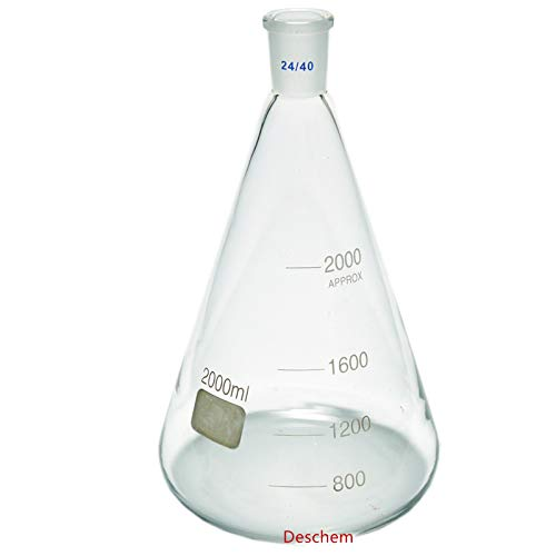 Laboratory Flasks Glassware - Deschem 2000ml,24/40,Glass Erlenmeyer Flask,2 Litre,Conical Flasks,Laboratory Glassware