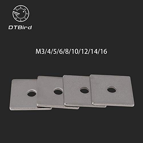 Ochoos 304 Stainless Steel Square Gasket Square Washer M3 M4 M5 M6 M8 M10 M12 M14 M16 Curtain Wall with Square pad - (Inner Diameter: M6X20X1.5 50pcs)