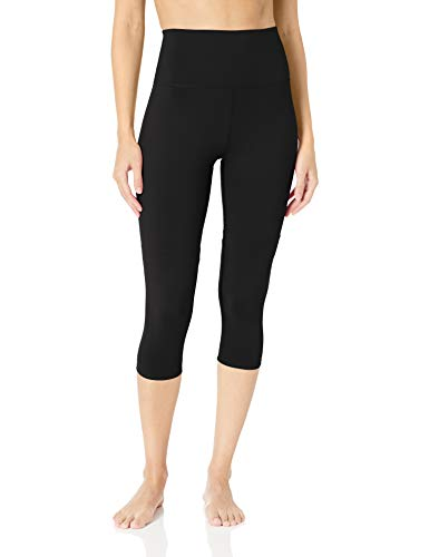 Amazon Brand - Core 10 Women's Amazon Brand - CoreComfort High Waist Yoga High Waist Capri Legging-22, Black, L (12-14)
