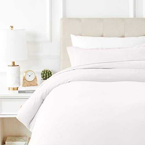 AmazonBasics Everyday Flannel Duvet Cover and 1 Pillow Sham Set - Twin or Twin XL, White