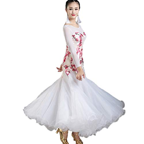 Dancewear Vestito Sala White performance tulle Donne Ballo Manicotto Rete Wqwlf Costume A Moderno Stampa Da S Competizione Valzer Calzamaglia Ballo s Per tqdwYFw