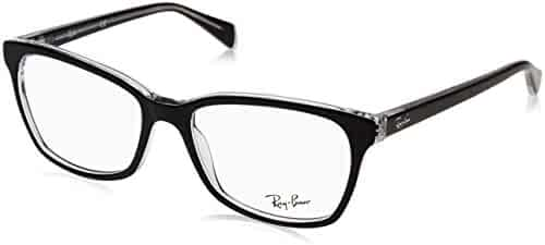 4b2d97d085 Ray-Ban Women s 0rx5362 No Polarization Square Prescription Eyewear Frame  Top Black on Transparent 54