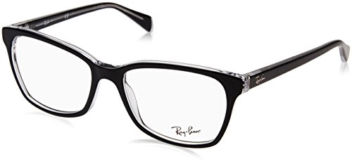Ray-Ban RX5362 Square Eyeglass Frames, Black On Transparent/Demo Lens, 54 mm (Ray-bans Rx)