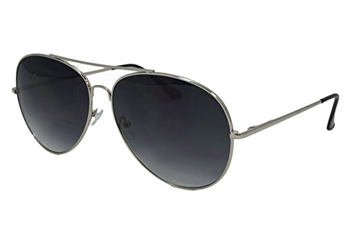 So In Luxe Aviator Retro Fashion Glasses Dark Lens Oversized (X-Large, Silver, Black - Heads For Aviators Big