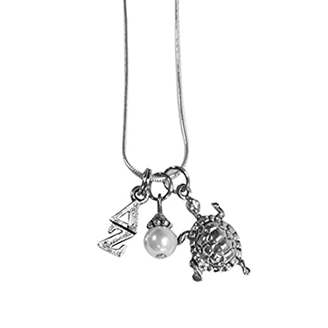 Delta Zeta Sorority Triple Charm Set Lavalier 18 Inches with Simulated Pearl and Mascot Charm (Chief Keef Pendant)