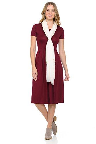 (iconic luxe Women's Short Sleeve Pleated Midi Dress with Pockets Medium Burgundy)