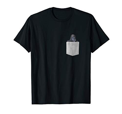 Gorilla In Your Pocket T-Shirt. Funny Peeking Ape Monkey Tee