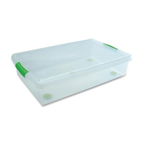 Wholesale CASE of 2 - Iris Stor N Slide Unberbed 40 Qt. Box-Storage Box, 18''x28-1/2''x6-1/4'', 6/CT, Clear/Green