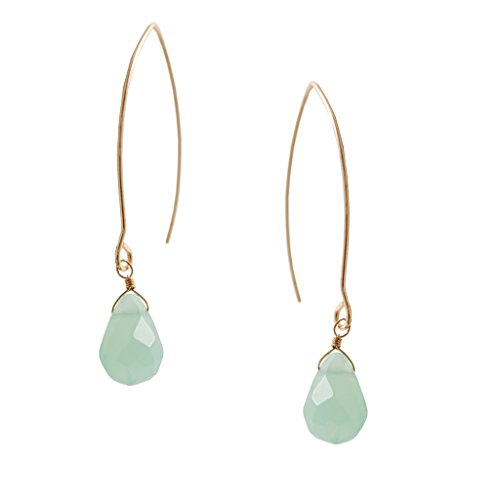 Humble Chic Teardrop Threaders - Briolette Bead Open Hoop Dangle Drop Earrings, Aqua, Gold-Tone, Sim - Sim Costume